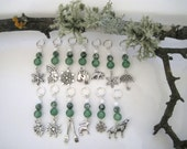FORKS Twilight Inspired knitting stitch markers - snow forrest moss agate