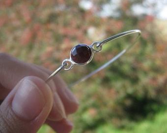 CHOCOLATE ONYX FACETED gemstone bangle bracelet