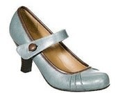 Blue Brown Mary Jane Heels Pumps Shoes Wedding Retro Vintage Pin-Up 9