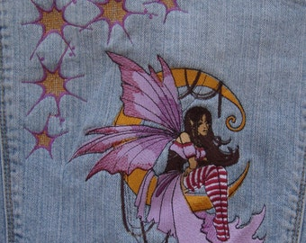 Fairy jean jacket Embroidered hollister ruffled girls medium OOAK
