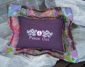 embroidered pillow peace out OOAK