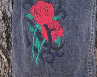 Sale Rose embroidered girls jeans old navy black size 12