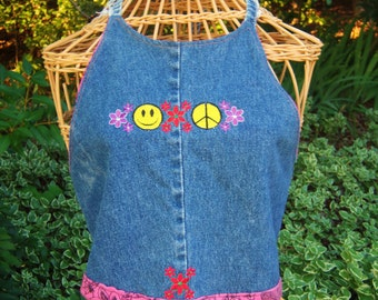 Embroidered blue jean halter top w peace sign happy face