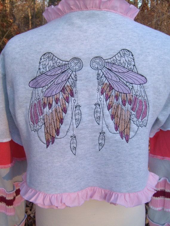 fairy wings and ruffles embroidered altered couture bolero shrug jacket OOAK