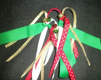 "Christmas ponytail streamer ""Little Elf"" with jingle bells"