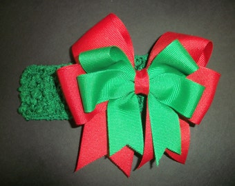 Christmas bow double layer red/green w/headband
