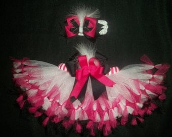 "Valentine's day tutu set, ""Feathers and Frills"" pettitutu and hairbow custom made Newborn-4t"