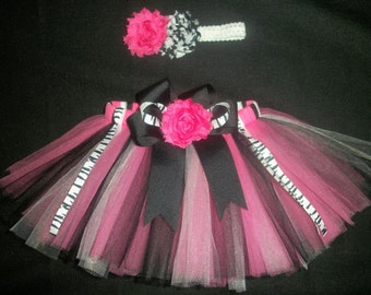 Hot pink Zebra Tutu set, custom made any size Newborn-4t