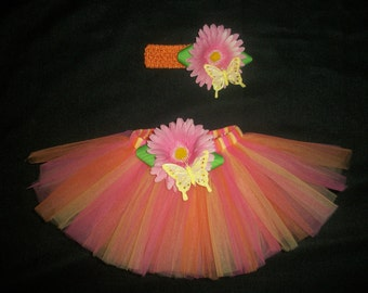 "Easter tutu set, ""Flutters and Flowers"" spring tutu and headband custom made up to a size 4t"