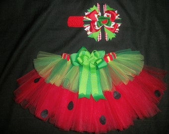 Watermelon picnic tutu set, 4th of July tutu or Summer Birthday tutu custom made up to a size 4t