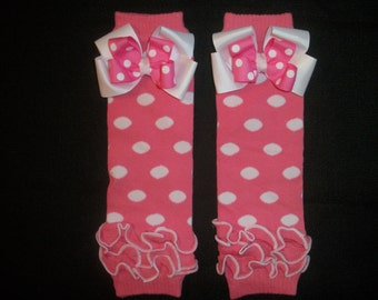 Minnie mouse legwarmers, pink and white