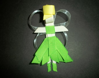Tinkerbell clip, sculpted ribbon tinkerbell bow