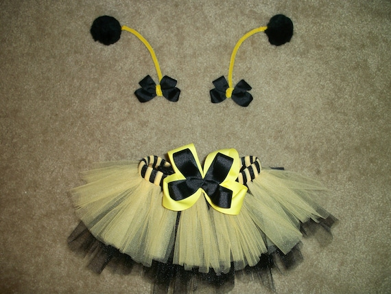 Bumblebee tutu costume with antenna bows custom made size Newborn-4T