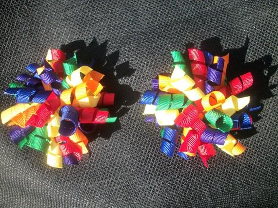 Rainbow colored mini korker pair