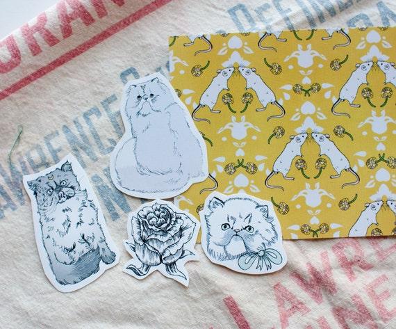 sticker set - Persians - set of 4 plus postcard