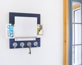 WINK: nautical blue wall mount mail organizer key rack hooks home office entry dorm decor get organized cottage organization