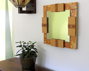 MIRROR ASIAN DECOR: Wall Mount Art Mirror, Detailed with Japanese Paper Symbolizing Good Fortune and Longevity.