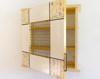WALL ART CABINET: Asian Inspired Small Miscellaneous Cabinet/Spice Cabinet. Detailed with Metal Mesh and Japanese Paper.