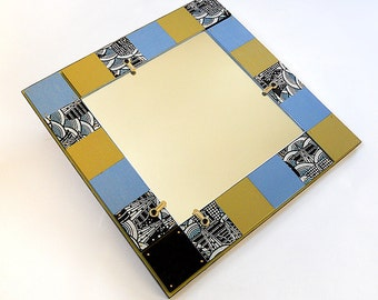 ART MIRROR: Functional Art with Asian Influences. Japanese Paper Detail Work. Perfect for an Entryway or Themed Room/Office!