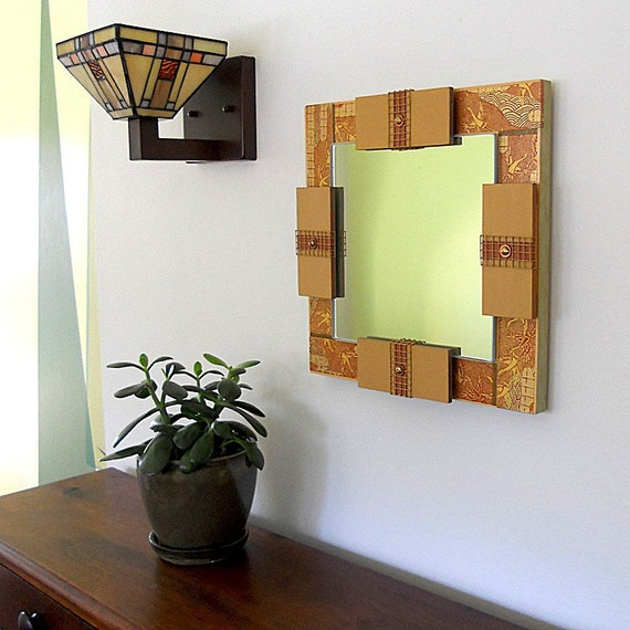 MIRROR ASIAN DECOR Detailed with Japanese Paper Symbolizing Good Fortune and Longevity.