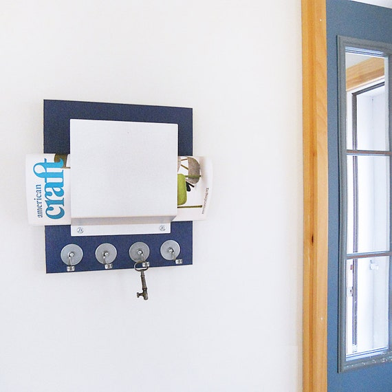 Items similar to mail key organizer modern wall mount wood and metal mail and key holder for - Wall mount mail and key rack ...