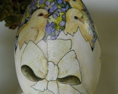 Large Hand Painted OOAK Wooden Easter Egg With Baby Chicks In A Cracked Egg Shell With Ribbons And Violets- Home Decor Collectible Original