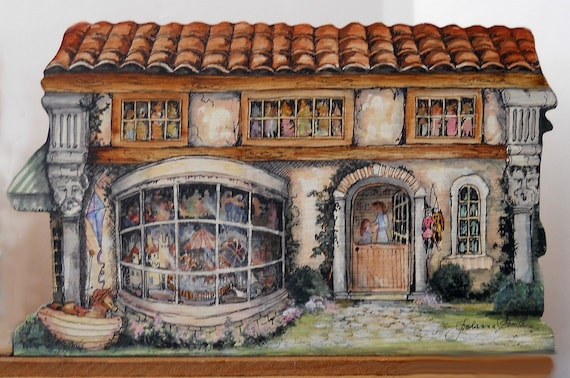 Hand Painted Original Old World Toy Shoppe Front  Home Decor Collectibles Original Art Signed