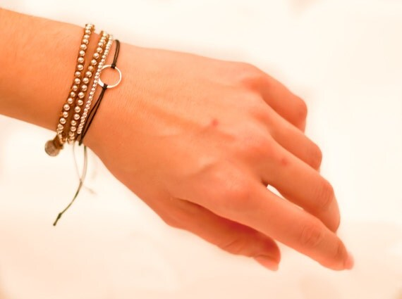 Gold Beaded Silver Double Wrap Bracelet or Single Wrap Necklace and gold eternity square for Emily