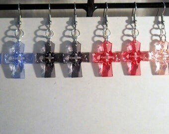 Cross Earrings, plastic, surgical steel