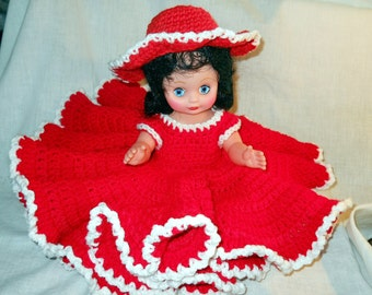 Red Hat Crocheted Bed Doll, FREE US Shipping