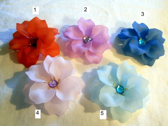 Flower Brooch Pin, red or pink or purple or blue