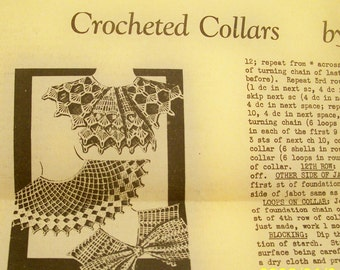 Vintage Household Arts Crocheted Collars Instruction Sheet No. 5441