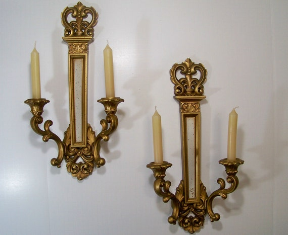 On hold for Rachael    Gold Candle Sconce Pair