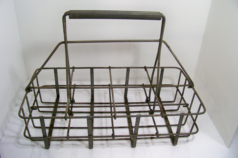 antique milk bottle carrier wire milk basket by smakboutique. Black Bedroom Furniture Sets. Home Design Ideas