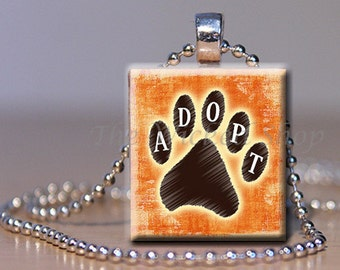 Scrabble Tile Pendant Necklace - Adopt  on Paw Print