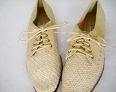 Suede and Weave Vintage Bandolino Shoes - Sz. 8 1/2
