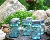 6 Vintage Aqua Ball Mason Pint Jars w/ ZINC Lids - Blue Wedding Jars - Mason Jars - Kitchen and Pantry Storage - INSURANCE w Shipping