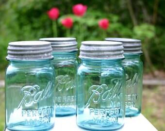 4 Vintage PINT Aqua Ball Mason Jars w/ZINC Lids - WEDDING Decor - Farmhouse Decor - Kitchen & Pantry Storage - Insurance with Shipping