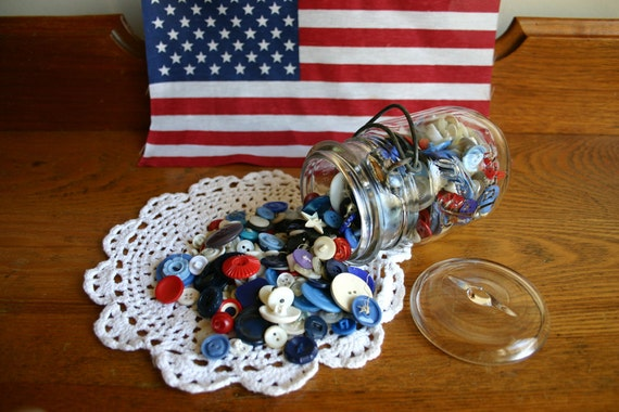 Vintage and Antique Button Collection & Ball Ideal Jar - Red White and Blue - The American Collection -  - Treasury 3x