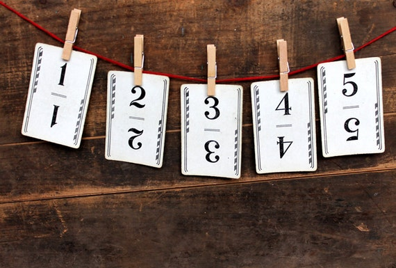 Vintage Flinch Number Cards - Wedding Party Table Numbers - Set of 15 Cards - Home Decor Organization