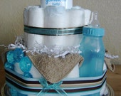 Blue and Brown 2 tier baby Boy Diaper Cake great gift for new mom in hospital or centerpiece for baby shower with powder bottle teether