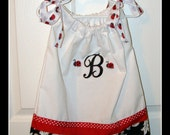 Custom Elegant Ladybug red and white with damask print Pillowcase Dress for infants 6M 12M 2T 3T 4T with initial letter applique
