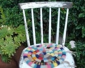 Vintage  knitted  chair or stool cushion, seat cover,  with colorful yarn, granny like, anthropologie like
