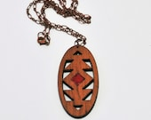 Geometric Pendelton Inspired Pendant  with hand-painted red inlay