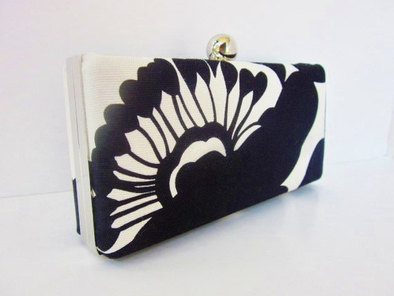 black and white bridesmaid clutch purse, minaudiere, black white floral clutch, Bridesmaid Clutch, black and white wedding