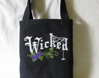CLEARANCE - Wicked Machine Embroidered Tote / Bag / Purse - Small