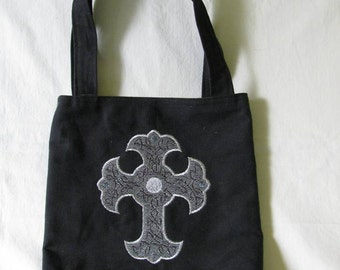 CLEARANCE - Small Tote / Bag / Purse with Machine Embroidered Celtic Cross Design