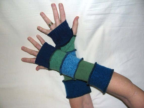 Teal, Blue and Green Arm Warmers with THumb Holes made from Recycled Sweaters - MEDIUM - Repurposed