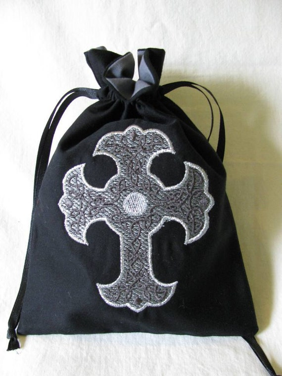 Drawstring Bag with Machine Embroidered Silver Gray Celtic Cross Design - Small - Dice Bag, Tarot, Wristlet