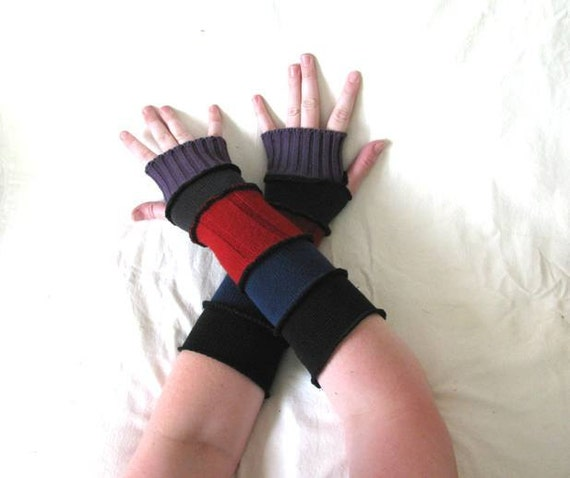 Black, Blue, Red and Purple Stripe Arm Warmers with Thumb Holes made from Recycled Sweaters - LARGE - Repurposed